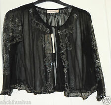 BNWT Kate Moss Topshop Black Floral Beaded Bolero Shrug Size 6