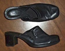 "CLARKS - BLACK LEATHER 2 1/4"" MULES PUMPS - LADIES 8M"