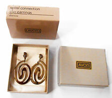 STYLISH AVON SPIRAL CONNECTION CLIP EARRINGS IN SILVERTONE NEW OLD STOCK 1987