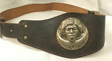 Rare Vintage 1970's 'In Memory of Jim Hendrix' Belt & Buckle leather and metal
