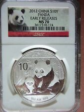 "2012 China Panda 1 Oz. Silver Coin MS70 ""Early Releases"" Pedigree NGC Red Label"