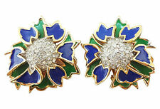 1960s Jomaz Joseph Mazer Pavé Enameled Runway Couture Earrings