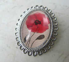 Vintage Silver Plated Poppy Floral Design Brooch New in Gift Bag Christmas Gift