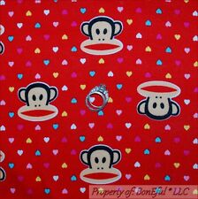 BonEful FABRIC FQ Cotton Jersey Knit Paul Frank Monkey Red Child Kid Heart Retro