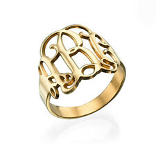 Monogram Ring - 18k Gold on Sterling Silver - Personalized (USA Seller)