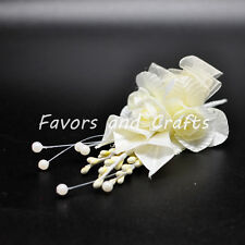 12 Corsage Wrist Flowers Boutonniere Silk Bridal Roses Pearl Favors Prom Pin