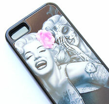 for iPhone 5C - Black Marilyn Monroe Pink Rose Skull Hard TPU Rubber Gummy Case