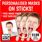 10 PERSONALISED FACE MASKS *ON STICKS* PHOTO Party Stag Do Hen Night Sash FAST
