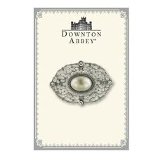 Downton Abbey Boxed Silver-Tone Filigree and Simulated Pearl Brooch 17534