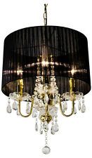 CRYSTAL DROPLET GOLD 4 LIGHT CHANDELIER WITH BLACK SHADE, CRYSTAL CEILING LIGHT