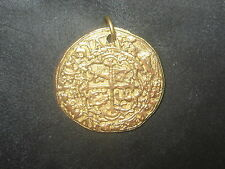 HANDMADE GOLD TONE PIRATE SPANISH ESCUDO COIN CROSS PENDANT CHARM NECKLACE