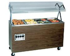 VOLLRATH 4 WELL WALNUT PORTABLE HOT FOOD STEAM TABLE W/ STORAGE - T38947