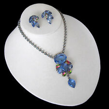 D&E Juliana Sapphire Blue & Iris Rhinestone Festoon Necklace & Earrings