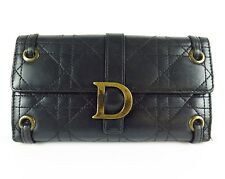 100% Authentic Christian Dior Leather Long Wallet Black Made In Italy