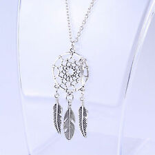Women Girl Retro Feather Pendant Long Sweater Chain Necklace Vintage Jewelry