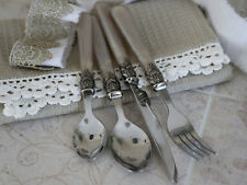 16 Piece Cutlery Set Vintage Chic Style French Grey / Silver Mother of Pearl