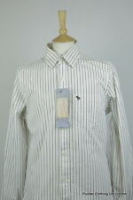 ABERCROMBIE MENS SHIRT MEDIUM MUSCLE FIT BROWN STRIPED BRUSH COTTON LONG SLEEVE