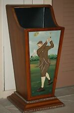 Golf Motif Umbrella Stand Hand Painted Solid Wood