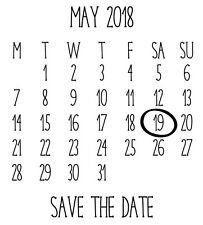 Personalised Laser Rubber Stamp - Save the Date: Calendar
