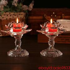 1pc High-end crystal glass Lotus lamp Long light candlestick Glass candle holder