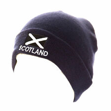 SCOTLAND HAT WITH SALTIRE FLAG DESIGN NAVY SCOTTISH SKI SKULL HAT NEW