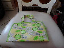 yellow, green and purple Avon jewelry or cosmetic tote
