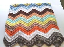 "Afghan Handmade Chevron Hand Crocheted Colorful Zig Zag Blanket 44"" x 43 1/2"""