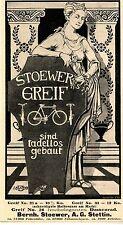 Bernh. Stoewer A.G. Stettin STOEWER GREIF DAMENRAD  Historische Reklame 1899