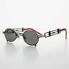 Small Oval Steampunk Sunglasses Intricate Temple Design Gun and Gray- DARIUS