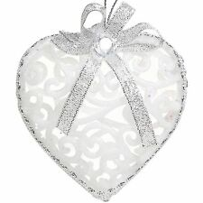 12 pcs Luxurious White/Silver Hearts Christmas Tree Baubles - Christmas Decor
