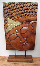 Unusual Hand Carved Buddha Plaque on Stand Unique Bali Buddha Plaque Solid Wood