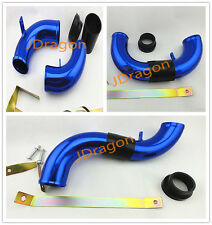 "58mm 2.25"" Car Cold Air Intake Induction Pipe Tube Universal Blue Aluminum"