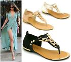 LADIES FLAT TOE POST WOMENS GOLD STUDS SUMMER GLADIATOR SANDALS SHOES SIZE