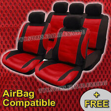 Black Red Mesh Racing Look Airbag Compatible Car Front Rear Seat Covers Full Set