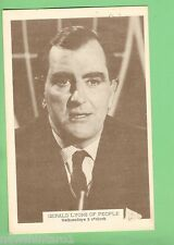 #D115. 1960s  TV  FAN CARD - GERALD LYONS OF PEOPLE, WEDNESDAY 8 O'CLOCK