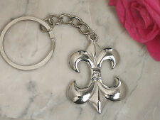 100 Silver Fleur De Lis Keychain Bridal Wedding Favors in Gift Box