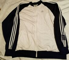 ADIDAS Originals Vtg Mens Tracksuit Top Jacket RARE White Blue 2XL Velor 90's