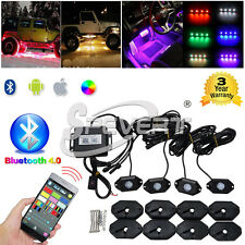 4pcs/set 9W Bluetooth RGB Waterproof LED Rock Light Kit Off Road SUV 4X4 4WD ATV