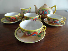 Vintage ORANGE LUSTER Floral Tea Set JAPAN Teapot Cups Creamer Saucers - 10 pc