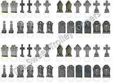 48 Halloween Tombstone Stand Up Edible Rice Wafer Paper Cup Cake Toppers