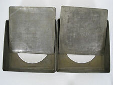 "2 Antique Perfection Cake Pans Removable Bottoms 8"" Square Pat May 16 1893"