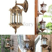 Retro Exterior Wall Light Fixture Aluminum Glass Lantern Outdoor Garden Lamp