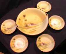 c.1911 NORITAKE Desert Fortress Pattern MORIAGE SERVING BOWL DISH SET DECO