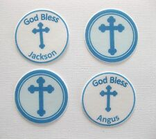 PERSONALISED PRECUT 12 EDIBLE RICE PAPER WAFER CARD BLUE CHRISTENING CAKE TOPPER