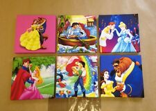 6 DISNEY PRINCESS WITH THERE PRINCE CANVAS PICTURES Each One 6 X 6 Inches