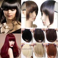 UK Clip in Clip on Bangs Fringe Hair Extensions Straight Black Brown Blonde qz16