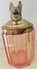 VINTAGE RARE PINK DEPRESSION GLASS DOG LID HUMIDOR JAR