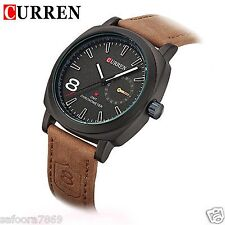 2016 New Fashion Curren Branded Leather Strap Military wrist Watch-ROE