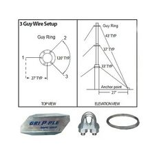 30' FT Foot Telescoping Antenna Mast Guy Wire & Clamps Kit 3 Way Down Guy Wire