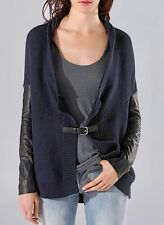 MAJE sz 1 Calane Leather Sleeve Buckle Draped Cardigan Sweater in Navy & Black